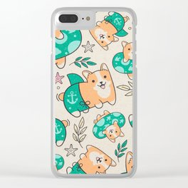 Corgi Beach Party Clear iPhone Case