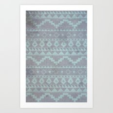 Mint & Gray pattern Art Print