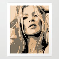 kate moss Art Prints featuring KATE MOSS by Christophe Chiozzi