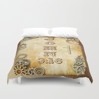 bible verse Duvet Covers featuring Steampunk Bible Verse John 3:16 by Whimsy and Nonsense