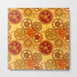 Vintage seamless pattern with gears of clockwork on aged paper background. Metal Print