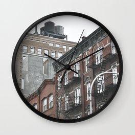 New York City corners, fire escapes, ladders fine art , nyc, America, photo Wall Clock