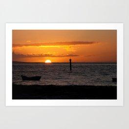 Orange Maui sunset Art Print