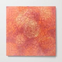 Autumn Mandala Pattern Metal Print