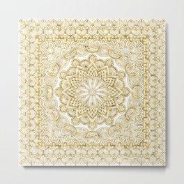 Orient Espresso Pattern Mandala Gold Metal Print