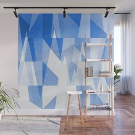 Abstract Blue Geometric Mountains Design Wall Mural