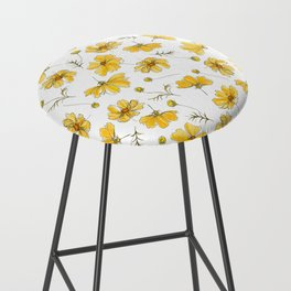 Yellow Cosmos Flowers Bar Stool