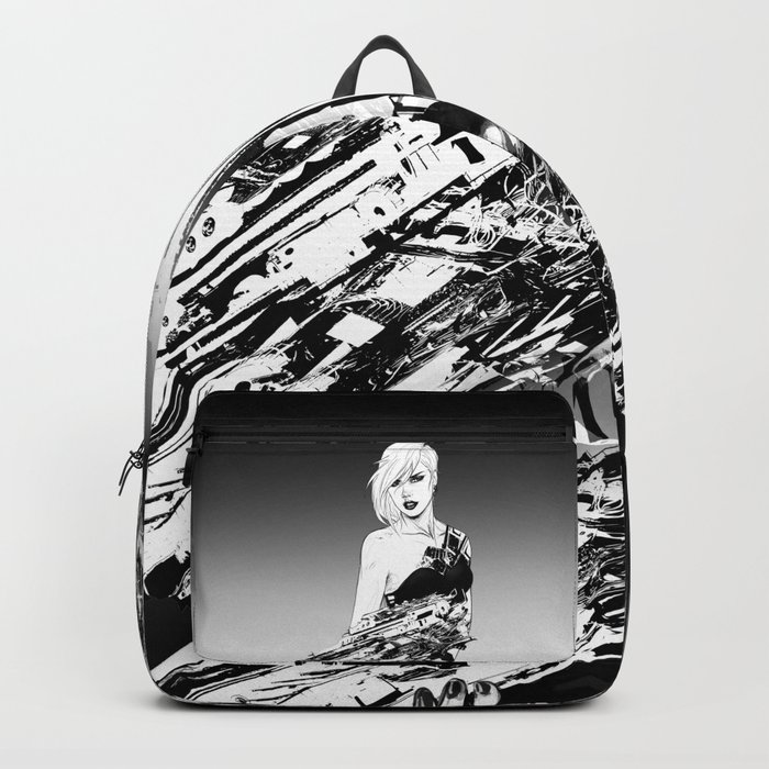 Arbitrary - Badass girl with gun in comic and pop art style Backpack
