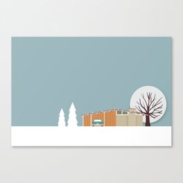 Retro series - Mid Century house in winter Canvas Print