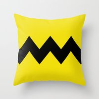 charlie brown Throw Pillows featuring Charlie Brown by Dustin Hall