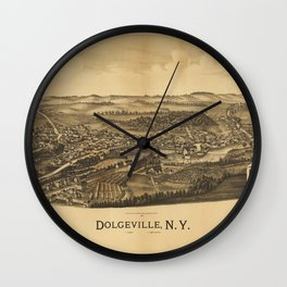 Aerial View of Dolgeville, New York (1890) Wall Clock