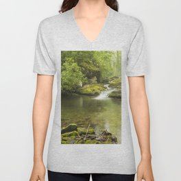 Photos USA Great Smoky Mountains National Park Stream Nature Parks forest Moss Stones Creek brook Creeks Streams park Forests stone Unisex V-Neck