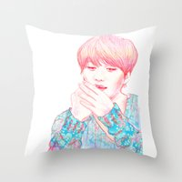 shinee Throw Pillows featuring SHINee Taemin by sophillustration