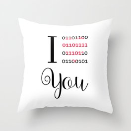 Our love in binary code Throw Pillow