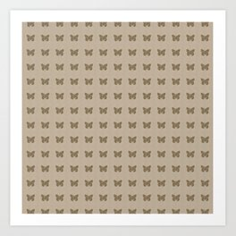 Gold Butterfly Linen Pattern Art Print