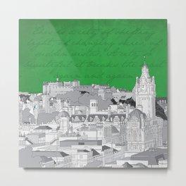 Edinburgh Skyline (Green) Metal Print