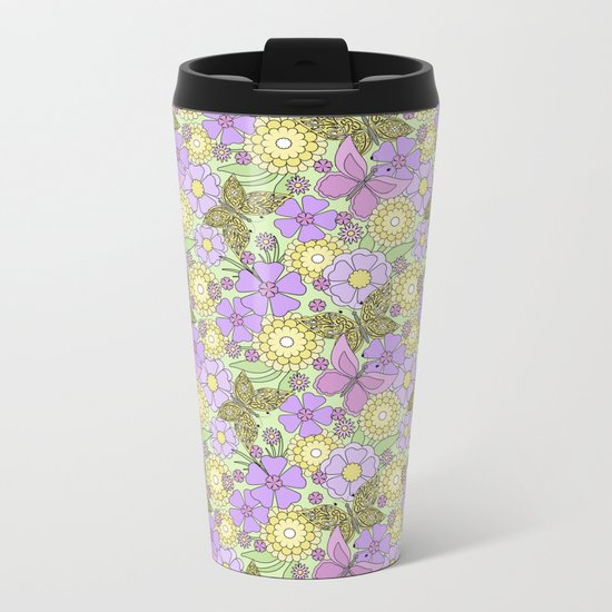 Bright floral pattern with butterflies. Metal Travel Mug