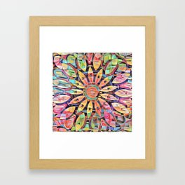 Cubistic Rainbow Flower Kaleidoscope Framed Art Print