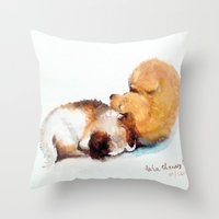 puppies Throw Pillows featuring Stray puppies by AShenoi