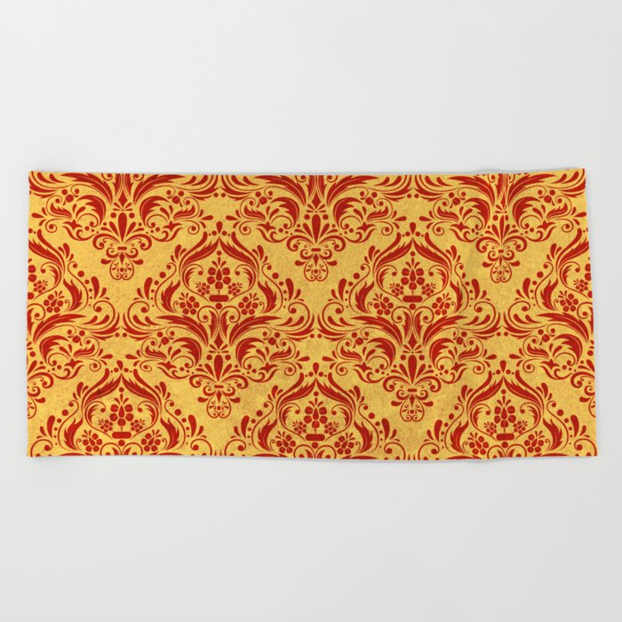 Halloween damask colors #1 Beach Towel