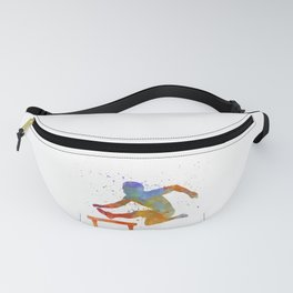 Man Athlete Jumping Over A Hurdles 01 Fanny Pack