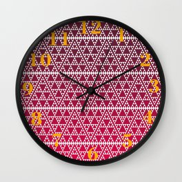 Triangles in triangles on red Wall Clock