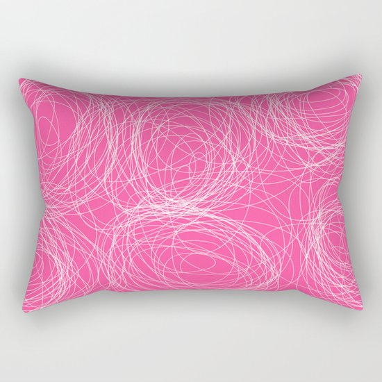 Abstract white circles and dots - abstract pattern - on pink Rectangular Pillow