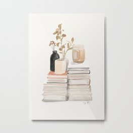 still life - books, vases and plants 3 Metal Print