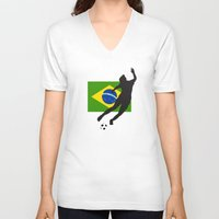 brazil V-neck T-shirts featuring Brazil - WWC by Alrkeaton