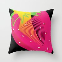 strawberry Throw Pillows featuring Strawberry  by deedesigns