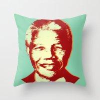 mandela Throw Pillows featuring NELSON MANDELA by mark ashkenazi