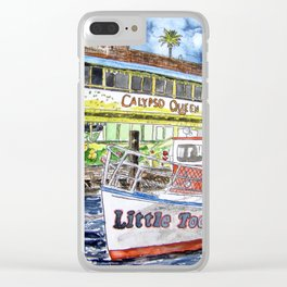 tug boat and beach hut Clear iPhone Case