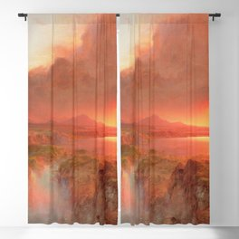 Ecuadorian Andes at Sunset, Cotopaxi volcano plains landscape painting by Frederic Edwin Church Blackout Curtain