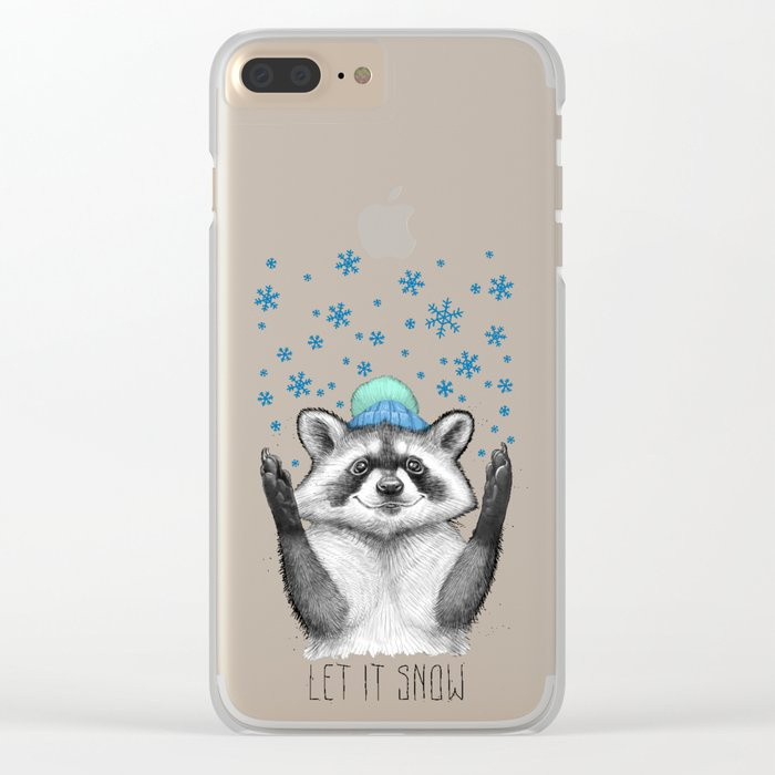 winter raccoon Clear iPhone Case