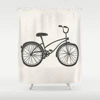 bicycle Shower Curtains featuring Bicycle by Alisa Galitsyna