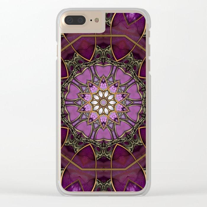 Amethyst Pink Mandala Clear iPhone Case