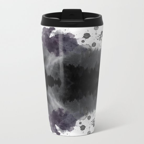 Watercolor forest reflections -abstract Metal Travel Mug