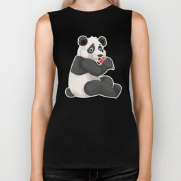 Strawberry Ice Cream Day Cute Panda Bear Licking Biker Tank