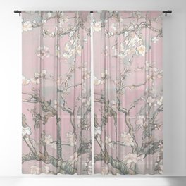 Almond Blossom - Vincent Van Gogh (pink pastel) Sheer Curtain