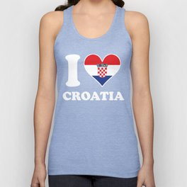 I Love Croatia Croatian Flag Heart Unisex Tank Top
