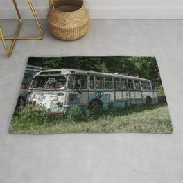 Abandoned Bus Broken and Abused Rusty Car Rug