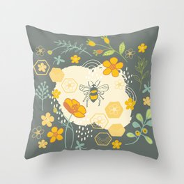 Little Bee and Buttercups Throw Pillow