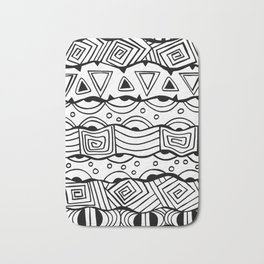 Wavy Tribal Lines with Shapes - Doodle Drawing Bath Mat