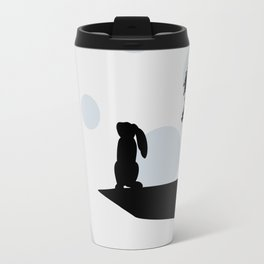 Bunny and Moon Silhouette Travel Mug