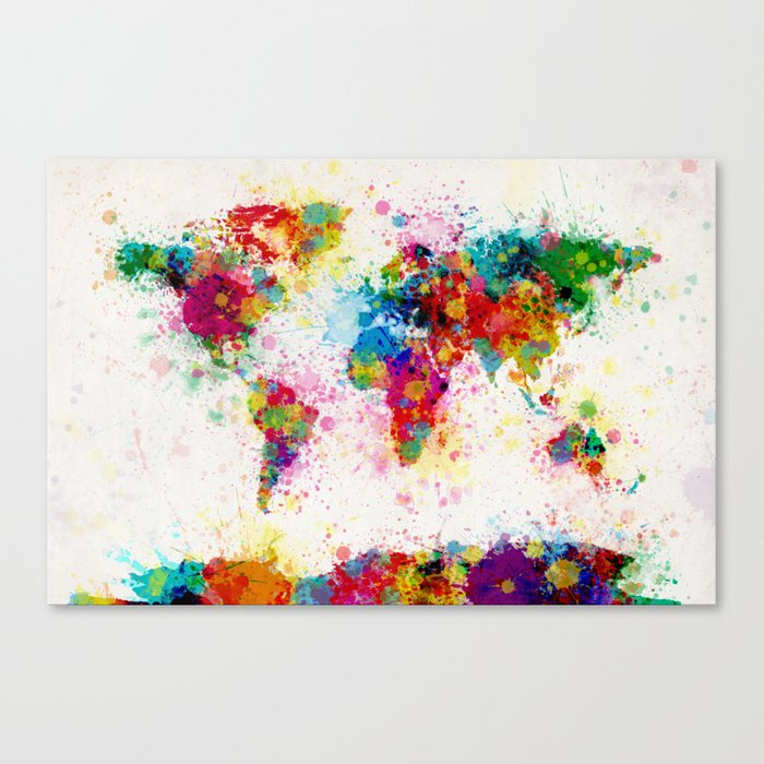 Map of the World Map Paint Splashes Canvas Print
