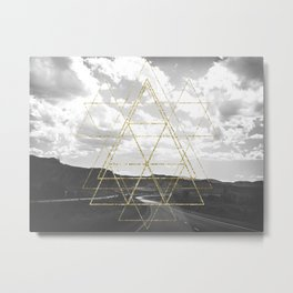 Gold Glitter Sacred Geometry Metal Print