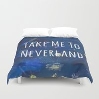 neverland Duvet Covers featuring Take Me To Neverland | Galaxy by Sarah Hinds