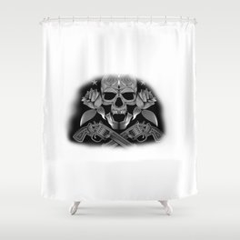 Skull and Revolvers Shower Curtain