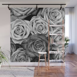 The Roses (Black and White) Wall Mural