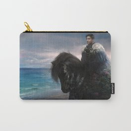 Knight on black Friesian horse Carry-All Pouch